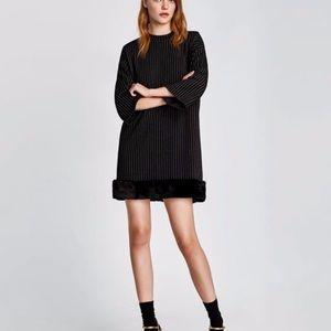 Zara Shift Dress With Faux Fur Trim B&W Striped
